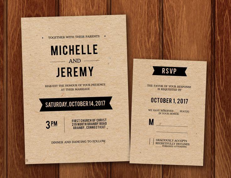 Free PDF Wedding Invitation and RSVP template for DIY rustic kraft paper invitations.