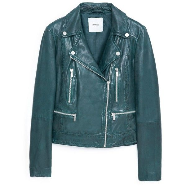 Leather Biker Jacket (€165) ❤ liked on Polyvore featuring outerwear, jackets, leather motorcycle jacket, motorcycle jacket, mango jacket, blue jackets and lined leather jacket