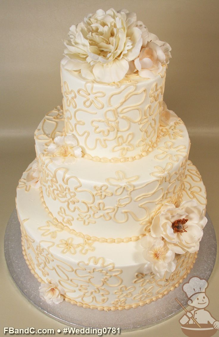 wedding cake with buttercream design w 0781 butter wedding cake 12 quot 9 quot 6 26843