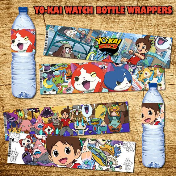 Yo-Kai Watch Birthday Bottle Wrappers - Printable Digital Yo-Kai Watch Bottle…