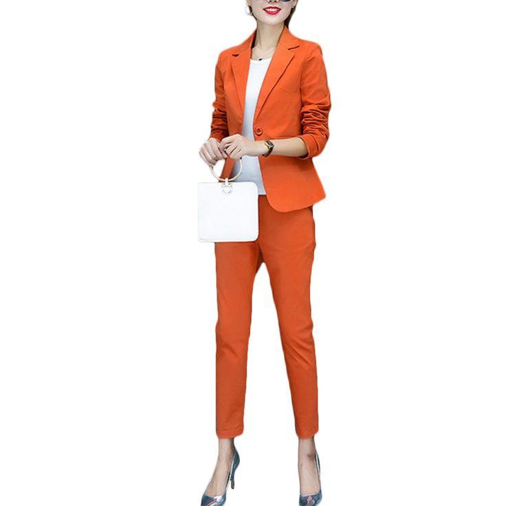 2017 fashion style OL elegant women pant suits formal business suit wear full sleeve single button femme blazer suit slim jacket