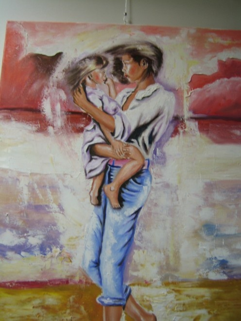 This is an oil painting painted by my hubby. It´s my niece Yvette and her sister.
