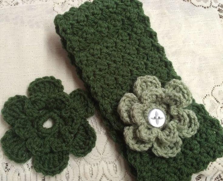 19 inch Teen/Adult Handmade Crochet Flower Headband Green/Misty incl. 2 Flowers #Handmade #Headbands #Any