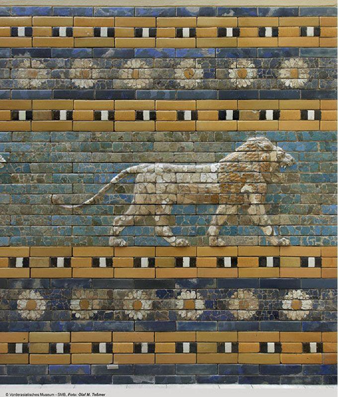 575 B.C, Lion from Ishtar Gate of Babylon. Glazed Ceramic. © Photo: Olaf M. Teßmer. Vorderasiatisches Museum, Staatliche Museen zu Berlin.