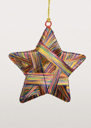 This three-dimensional star ornament has colour all wrapped up! Artisans from India wrap vibrant thread over and over (and over) around the base to create this stunning star.