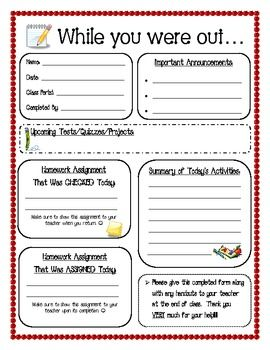 While you were out form for absent students.  When a student is absent, have a classmate fill this out for when they return! FREE PRINTABLE I have a pocket chart with numbers for each student that all papers and absent student planner gets placed in at the end of the day. Works great!!