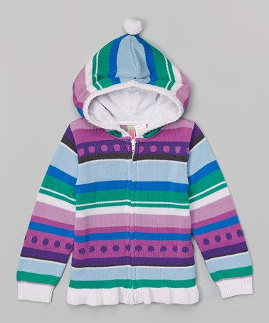 Take a look at this Purple & Turquoise Stripe Zip-Up Hoodie  by Sophie & Sam on #zulily today!
