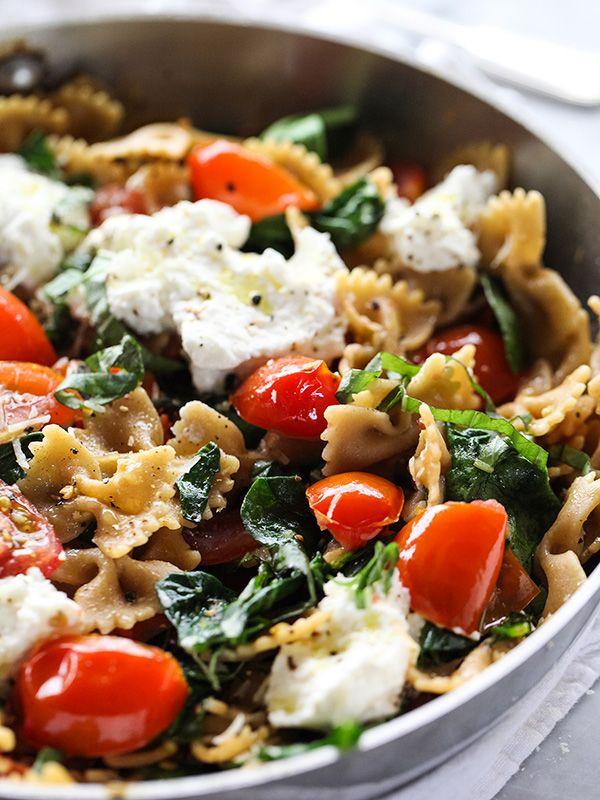 Fresh tomatos shine in this ricotta and whole wheat pasta dish.