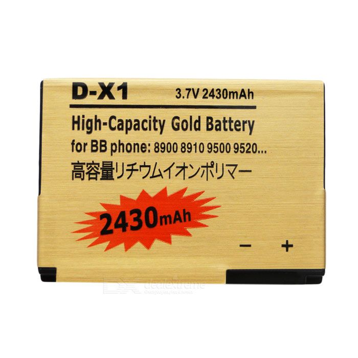D-X1-GD Replacement 2430mAh 3.7V Lithium Battery for Blackberry 8900/8910/9500/9520/9530/9550/9630
