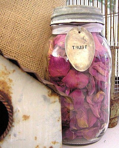 Mason Jar with rose petals