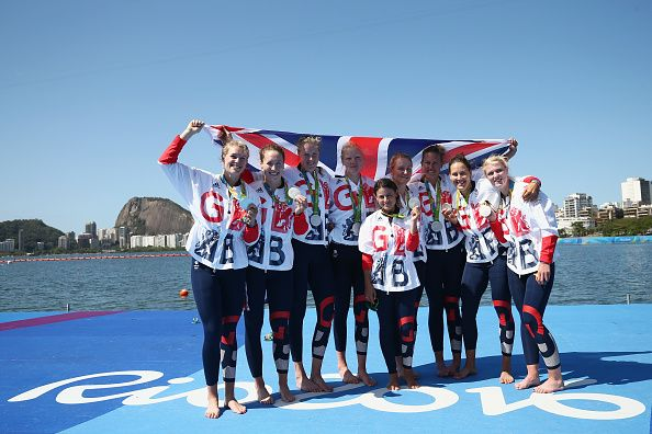 Team GB's women's eight rowing team showing off their silver medals at Rio 2016