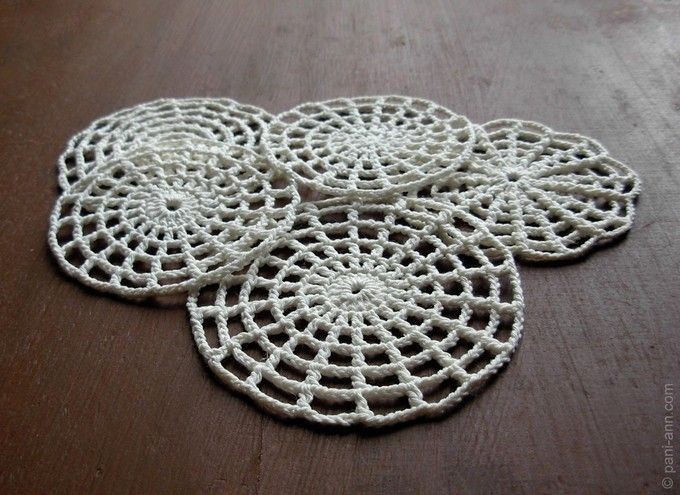crochet spider web pattern or coaster- russian site but with good chart to follow along.