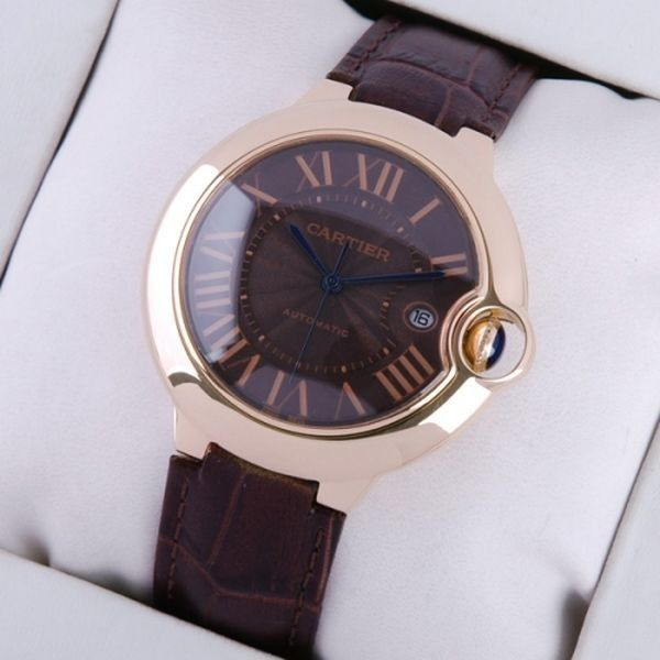 Cartier 18K Rose Gold Black Dial Brown Leather Large Mens Watches