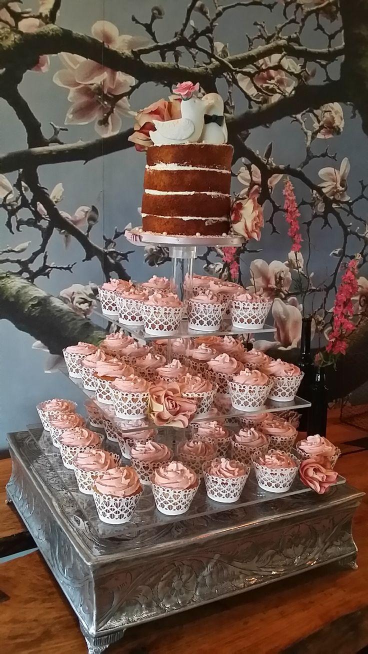 Naked cake cupcake wedding cake tower. Vintage style. www.helens-cake-craft.co.za