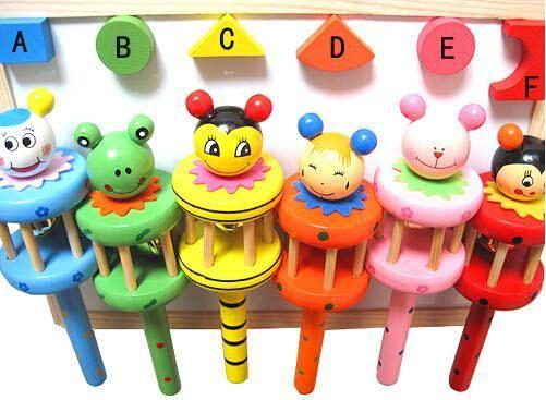 Best Birthday Gift Baby Rainbow Toy kid Pram Crib Handle Wooden Activity Bell Stick Shaker Rattle TOP28