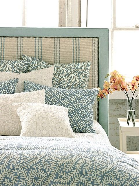 Love The French Ticking Teal Upholstered Headboard Home