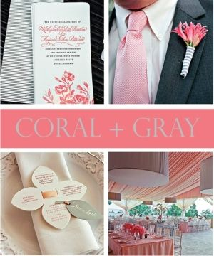 coral & gray wedding by Sweet Emm <3