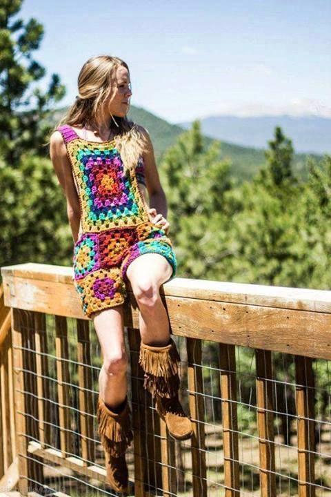 Vestido tonos tierra crochet
