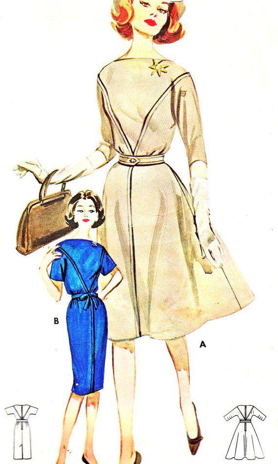 1960s Dress Pattern Butterick 9925 Full Skirt or Sheath Skirt Kimono Sleeve Day or Evening Dress Womens Vintage Sewing Pattern Bust 34