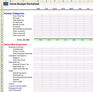 personal finance budget worksheet