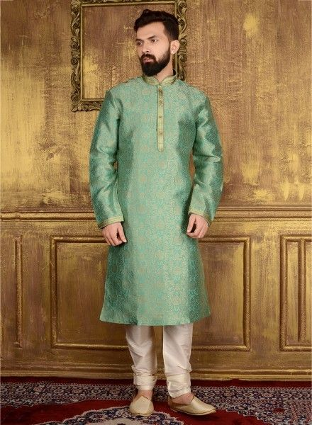 5146b97028 Cream Banarasi Silk Kurta Pyjama sku:518049 in 2019 | Men wear | Mens party  wear, Wedding kurta for men, Boys kurta