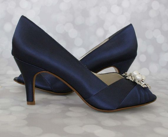 Wedding Shoes Navy Pearl Bridal Bride On Budget Blue Low Heel Satin