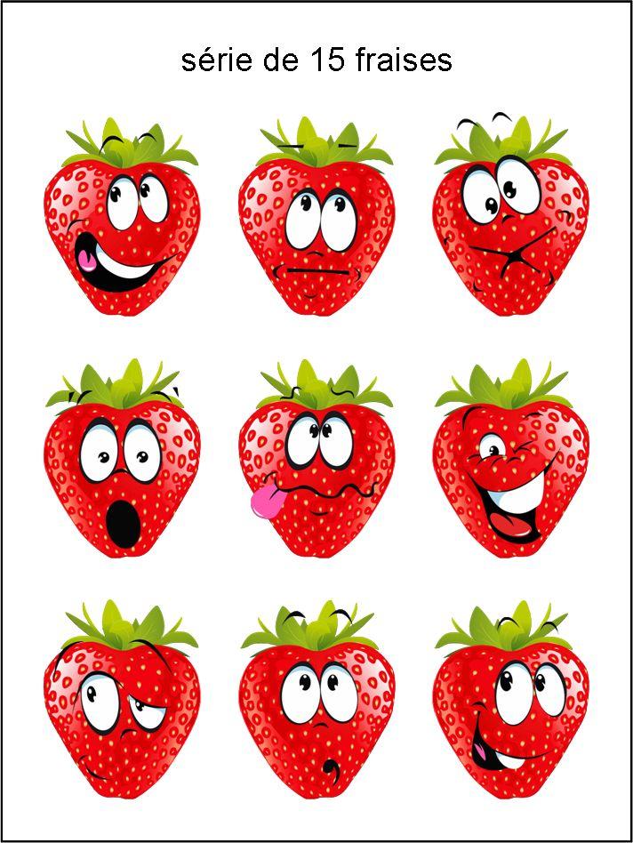 émoticônes, smileys, cliparts, visage fraise, rouge, heureux, rire, sourire, content, en colère, en pleurs, larme, triste, étonné, grimace, clin d'œil, surpris, téléchargement, gratuit, séries, collections