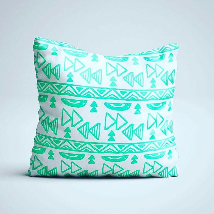Throw Pillow - Aztec Pillow - Scandinavian Design- Pattern Design Pillow with insert - Green Decorative Pillow