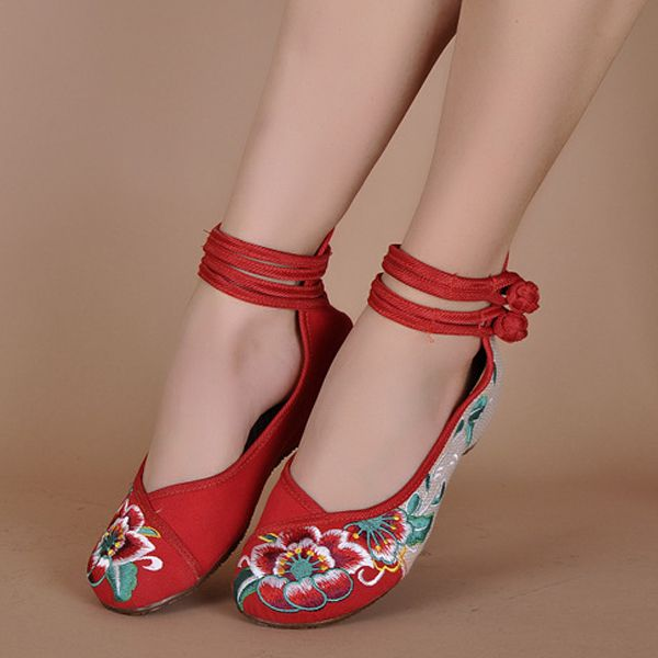Retro Womens Wedge Heels Lace Up Chinese Style Floral Casual Sports Chic Shoes