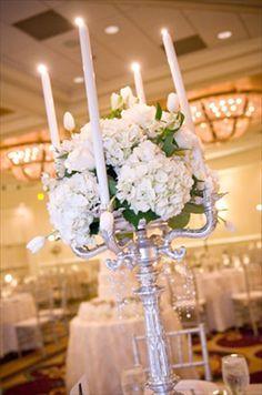 Hydrangea Wedding Centerpiece with Candles