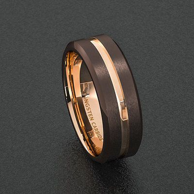 Mens Wedding Band 8mm Dark Espresso Collection Brown Ring Rose Gold Groove Inlay in Jewelry & Watches, Men's Jewelry, Rings | eBay