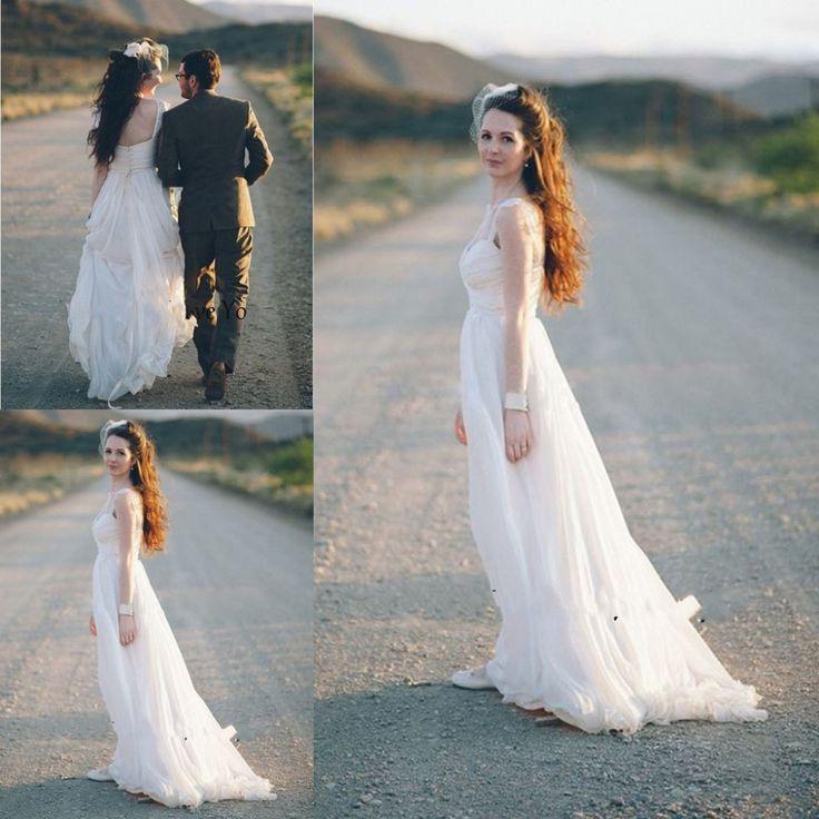 Vestidos Novia Boho шифон длинные дешевые свадебные платья 2015 милая драпированные створки Vestidos Novia скромные свадебные платья
