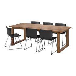 IKEA - MÖRBYLÅNGA / BERNHARD, Tisch und 6 Stühle, Variationen der Maserung und natürliche Farbunterschiede verleihen jedem Tisch seinen eigenen Ausdruck - das trägt zum Charme von Holzmöbeln bei.Eine umweltschonende Wahl, da die Auflageschicht aus Massivholz auf Spanplatte Wertstoffe spart.Tischplatte mit Massivholzoberfläche; robustes Naturmaterial, das bei Bedarf abgeschliffen und neu behandelt werden kann.Der massive Eindruck wird durch das Kantendesign verstärkt.Das Stabmuster verleiht…