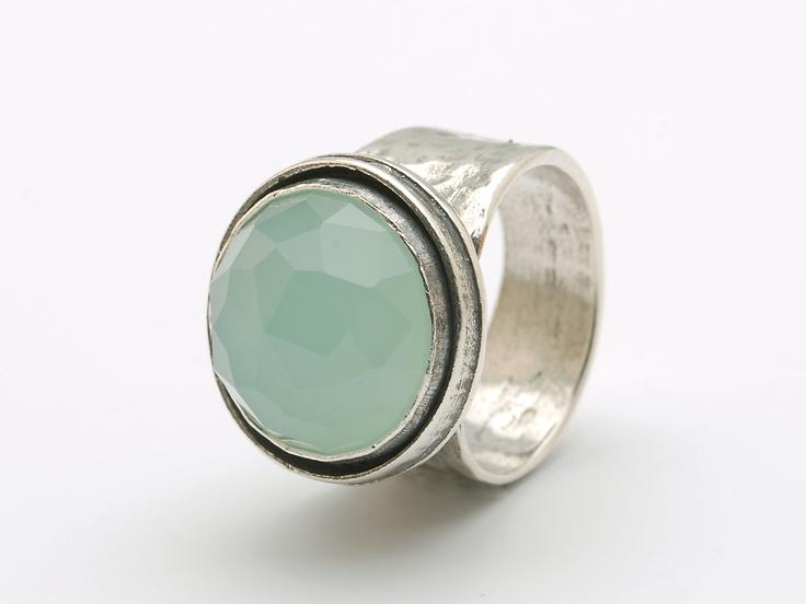 Ring zilver met steen groene kwarts