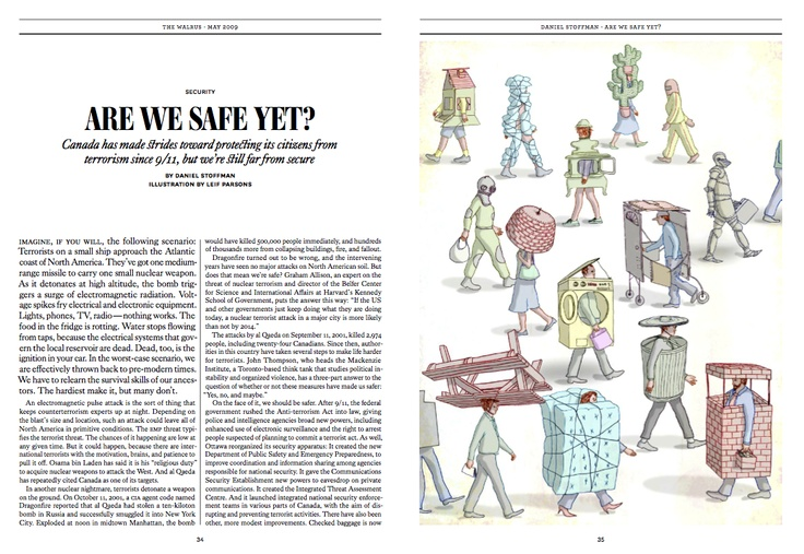"""Silver winner in #Illustrations. """"Are We Safe Yet"""" by Leif Parsons published in The #Walrus, 2009."""