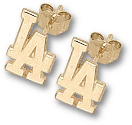 Los Angeles Dodgers 3/8in LA Post Earrings - 10KT Gold Jewelry