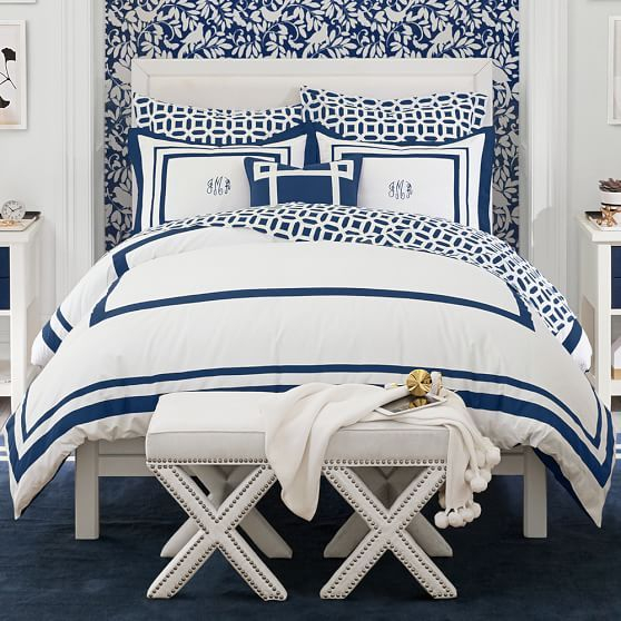 Suite Organic Duvet Cover + Sham - White and Navy Hotel Style Bedding