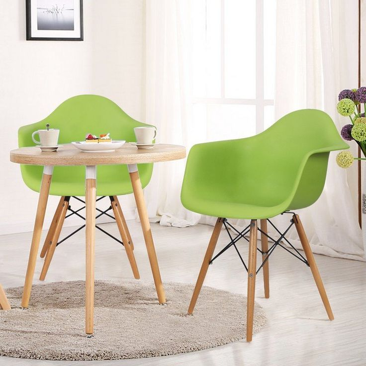 Green Charles & Ray Eames Modern Dining Chairs / Armchairs with Birch Wood Legs (Set of Two)