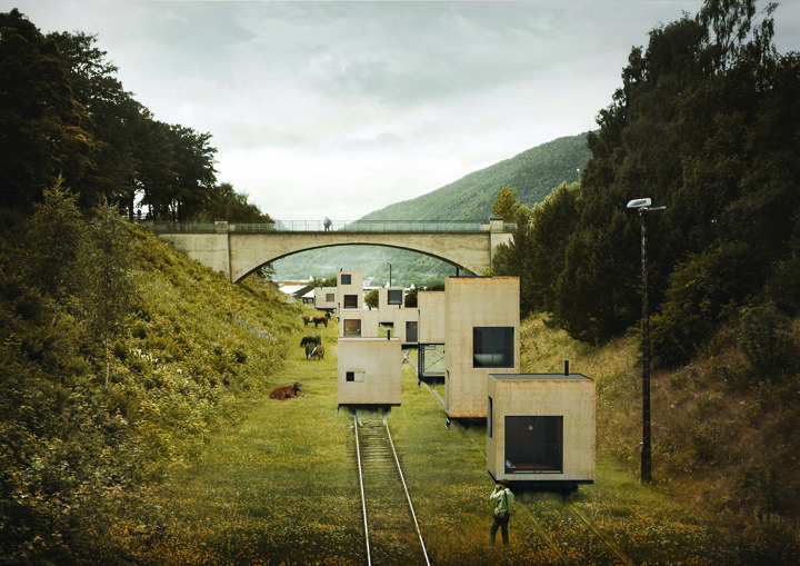 'Rolling Masterplan' turns the old industry train tracks into a new kind of infrastructure for mobile buildings carrying mobile houses which can be rolled around depending on seasons and situations. They created not only houses, but also a mobile hotel, a rolling public bath, a park or even a rolling concert hall. Fully implemented in the city there would be over one hundred rolling buildings