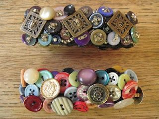 Button Bracelets: these are just sewed randomly onto black elastic. The top one has some beads added.