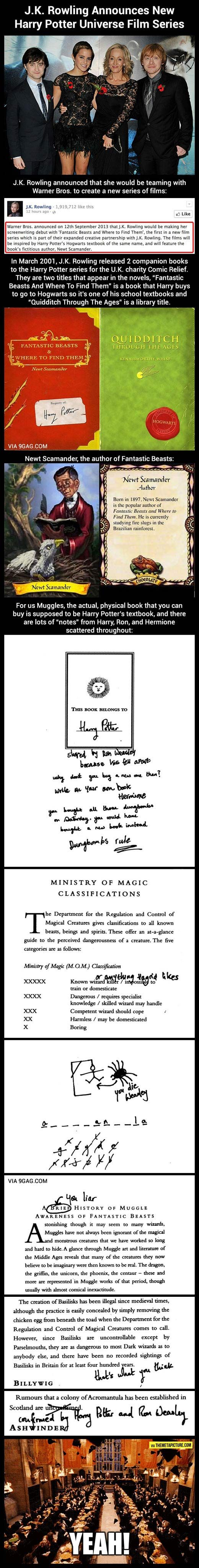 J.K. Rowling announces new Harry Potter film. And Harry, Ron and Hermione's amazing notes in there school book!!!