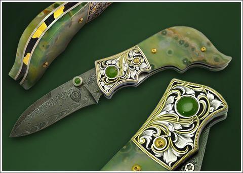 Engraved Jasper folding knife  Ocean jasper (natural mineral from Madagascar) handled liner lock folding knife. Jade accents. Carved and 24K gold overlaid spine. Composite pattern nickel damascus steel blade.   #KhalsaKirpans . . . #Khalsa #Punjab #Singh #Kaur #Sikh #Sikhism#Turban #Beard #PunjabiWedding #Punjabi #Sardar #Sardari #Sardarni #SikhWedding #Artisan #Sword #Dagger #Blade #BladeSmith #BladeArt #Art #Knife #Weapon #Handcrafted #Spiritual #Satnam #Waheguru #MartialArts…
