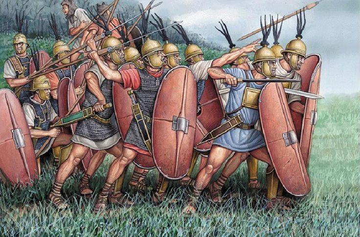 Aspecto de un ejército consular en la segunda guerra púnica. Ilustración de Ángel García Pinto.