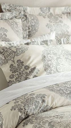 Lucianna Medallion Duvet Cover and Sham – Gray