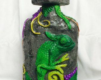 Chameleon clay bottle Decorative Bottle by myfantasyworldanna