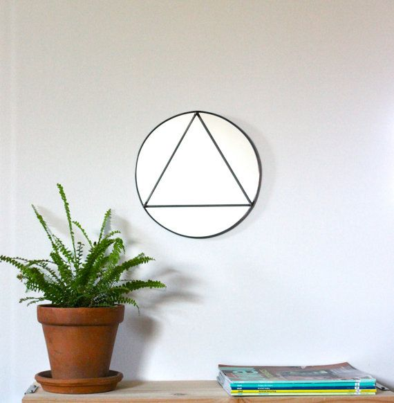 Circle Triangle Wall Mirror Geometric / Handmade Wall Mirror  > > > This item is made to order. Please allow up to three weeks for item to ship. Please