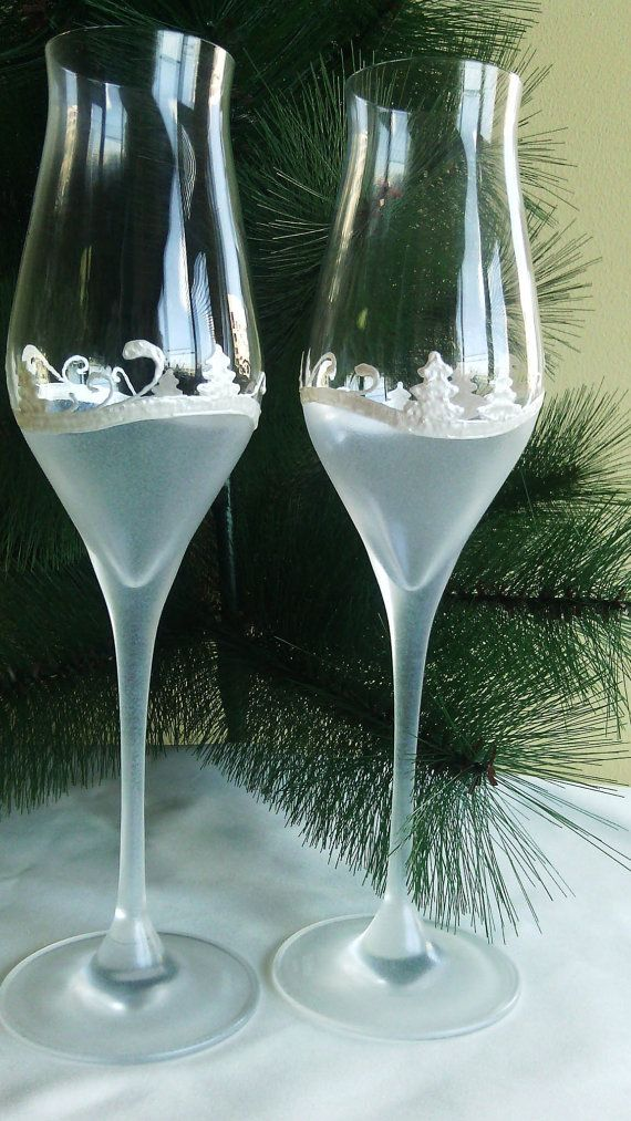 CRYSTAL SET of 2 hand painted wedding by PaintedGlassBiliana, $55.70