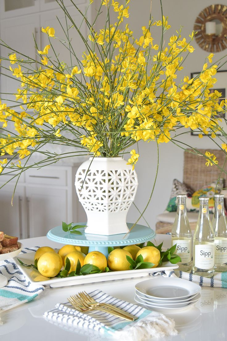 White vase spring summer dishes aqua cake stand forsythia yellow flower bush brunch lemons table scape center piece_-14