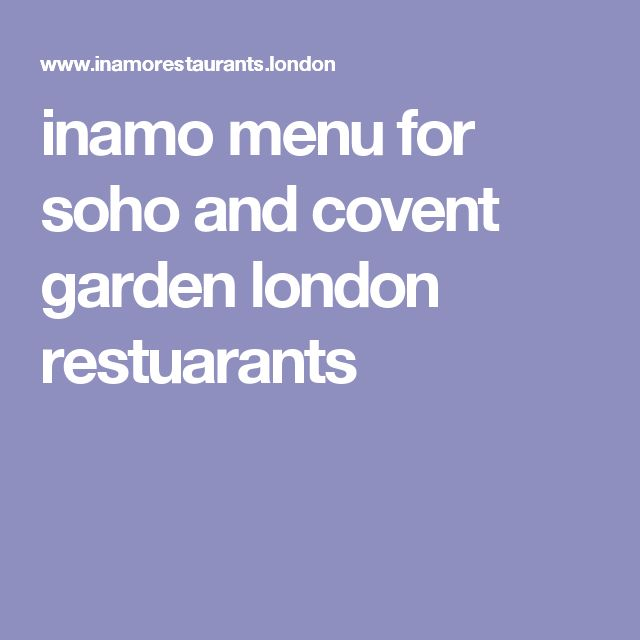 inamo menu for soho and covent garden london restuarants