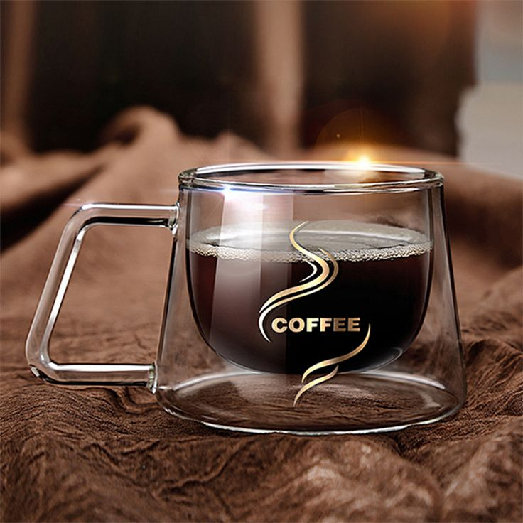 Creative Square Shape Transparent Office Cup Double Layer Heat-Resistant Borosilicate Heat Insulation Glass Mugs Coffee Cup #Affiliate